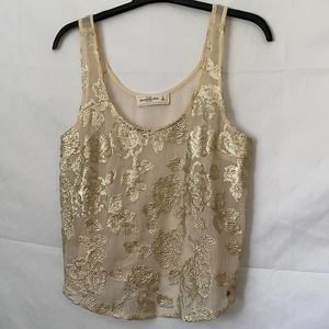 A&F Cream Sheer Top With Embroidered Floral Sequin
